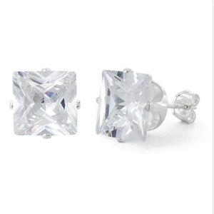 Jewelry - Sterling Silver Princess Cut 9mm CZ Studs